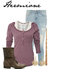 A fashion look from April 2014 featuring purple top, blue jeans and military boots. Browse and shop related looks. Harry Potter Girl, Harry Potter Style, Harry Potter Outfits, Fandom Outfits, New Outfits, Fashion Outfits, Character Inspired Outfits, Fandom Fashion, Casual Cosplay