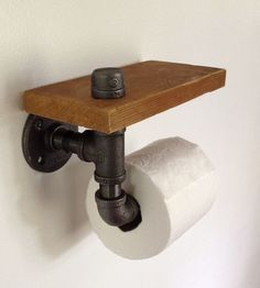 Reclaimed Wood & Pipe Toilet Paper Holder