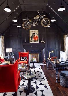 office man cave ideas. Design Ideas For A Large Contemporary Study Room In Nashville With Black Walls, Dark Hardwood Floors, Standard Fireplace And Freestanding Desk. Office Man Cave S