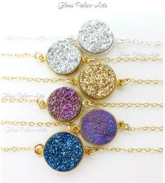 Druzy Pendant Necklace - Druzy Stardust Necklace Steal the spotlight with glittering drops of brilliant druzy. Sparkling druzy stardust necklace is available in a variety of deep glittering colors. This druzy necklace sparkles and shines like no other!