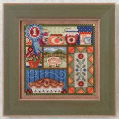 "MH144201 - County Fair - Buttons and Bead Kits Autumn Series - Kit Includes: Beads, ceramic button, perforated paper, needles, floss, chart and instructions. 6"" x 6"" Mill Hill frame GBFRM12 sold separately. Size: 5"" x 5"""