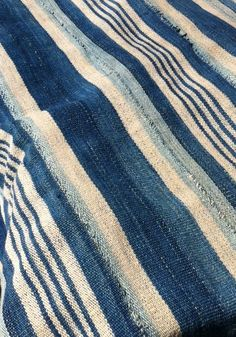 African indigo striped fabric