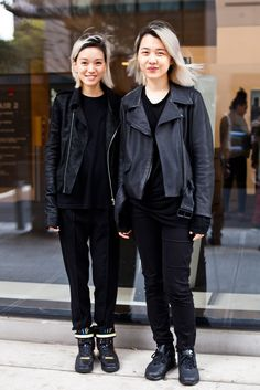 LOVE Campus Street Style Showdown: FIT Vs. Parsons #refinery29 http://www.refinery29.com/parsons-fit-street-style-pictures#slide8 Name: Melody Lin (left)Campus: ParsonsWhat She's Wearing: Maison Martin Margiela pants, Topman shirt, Rick Owens jacket, and Nike x RT Air Force 1 sneakers.Name: Shi Chi Chi (right)Campus: ParsonsWhat She's Wearing: Zara pants, Armani T-shirt, Acne leather jacket, and Nike Air Max iD sneakers.