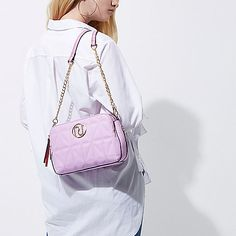 Pink quilted cross body chain bag - cross body bags - bags / purses - women