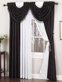 Black and white Annabella window curtains render contemporary elegance. #AnnasLinens #BlackandWhite #Curtains