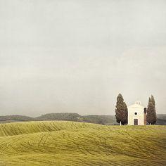 Pastoralia - Tuscany, Italy, Color Photography, Rustic Landscape Photograph, Autumn Colors, White, Grey, Hills, Rural, Capella, Chapel