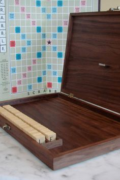 Gorgeous Custom Wood Scrabble Game Box - Sustainable Harvest and Made to Order - Local Woods Available. $155.00, via Etsy.