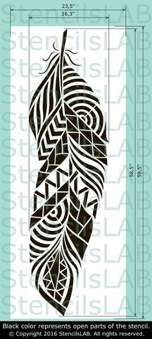 Tribal Feather Stencil For Walls - Large Feather Wall Stencil ♡ Feather Stencil for Wall - Decorative Wall Stencil - Wall Stencil. Wall Stencil Designs, Stencil Wall Art, Stencil Patterns, Wall Stenciling, Painting Stencils, Stencil Templates, Painting Art, Embroidery Patterns, Hand Embroidery
