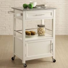 Brantley Granite Top Rolling Kitchen Cart With Towel Rack (white)