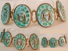 Vintage Czech Glass Pharaoh head huge bookchain bracelet