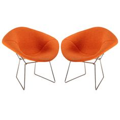 "Pair of orange ""Diamond"" chairs designed by Bertoia edited by Knoll in 1952 