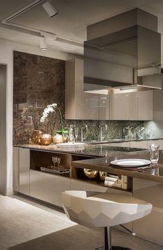 Modern Kitchen Interiors, Luxury Kitchen Design, Luxury Kitchens, Home Decor Kitchen, Interior Design Kitchen, New Kitchen, Home Kitchens, Kitchen Ideas, Kitchen Modern