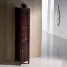 Mahogany Tall Bathroom Linen Cabinet - Oxford https://www.studio9furniture.com/bathroom/linen-cabinets/fresca-oxford-mahogany-tall-bathroom-linen-cabinet  This linen cabinet designed by Fresca Oxford is nicely accented with dovetail drawers and plenty of storage space.