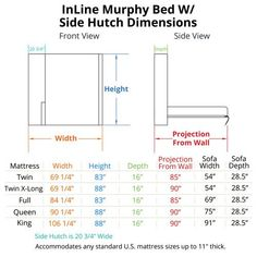 """Outstanding """"murphy bed diy"""" info is offered on our internet site. Check it out and you will not be sorry you did. Murphy Bed Couch, Murphy Bed Kits, Murphy Bed Plans, Sofa Bed, Space Saving Beds, Suite Principal, Modern Murphy Beds, Bed Dimensions, Minimalist Home"""