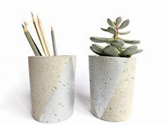 Set of 2 Concrete Gray Silver Pencil Holder Succulent by BetonDeko