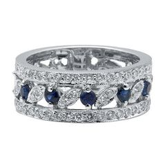 Wide 14k White Gold Pave Diamond Filigree Sapphire Wedding Band Anniversary Ring | eBay