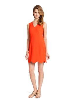 CAROLINE DRESS  Fresh bright, V-neck scallop hemmed shift dress available in sunshine and in pure orange