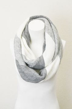 Winter White Gray ultra Soft Diagonal Stripe by LePetitMonkey, $36.00