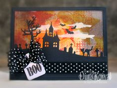 Impression Obsession Rubber Stamps Halloween Hill Die