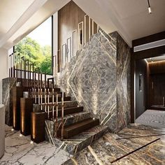 Modern Entryway, Modern Stairs, Home Stairs Design, House Design, Contemporary Interior Design, Modern Design, Modern Contemporary, Luxury Staircase, Balustrades