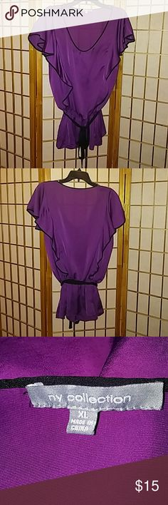 NY Collection Peplum shirt Silk peplum shirt with black piping. Easy care no dry cleaning. No rips or tears. Wore once only. NY Collection Tops Blouses