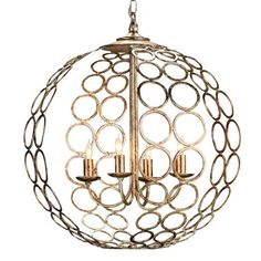 Silver Iron Circles Candle Chandelier