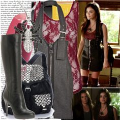 A fashion look from January 2012 featuring red shirt, halter top and knee socks. Browse and shop related looks. Dress Outfits, Girl Outfits, Cute Outfits, Fashion Outfits, Women's Fashion, Dresses, Tv Show Outfits, Fandom Outfits, Estilo Aria Montgomery