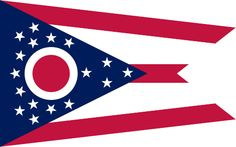 "Ohio's state flag adopted 1902.Ohio burgee, as the swallowtail design is properly called,designed by John Eisemann.Large blue triangle represents Ohio's hills and valleys, stripes represent roads and waterways.13 stars grouped about the circle represent the original states of the union; 4 stars added to the peak of the triangle symbolize that Ohio was the 17th state.White circle with its red center not only represents the ""O"" in Ohio, but also suggests Ohio's famous nickname,""The Buckeye…"