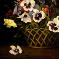 colorful pansies in basket classical old world still life, painting by artist JEANNE ILLENYE