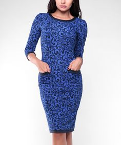 Another great find on #zulily! Blue Floral Swirl Pocket Sheath Dress - Plus Too #zulilyfinds