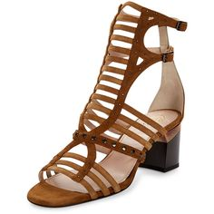 Lanvin Studded Gladiator City Sandal ($379) ❤ liked on Polyvore featuring shoes, sandals, camel, ankle strap sandals, studded sandals, gladiator shoes, ankle wrap sandals and studded gladiator sandals