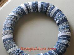 Jean Seam Wreath Tutorial - How To Repurpose Old Jeans - Restyled Junk Jean Crafts, Denim Crafts, Blue Jean Quilts, Denim Quilts, Denim And Diamonds, Denim Ideas, Recycle Jeans, Recycled Denim, Wreath Tutorial