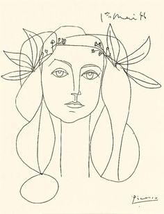 MEGATTIC: Pablo Picasso, Head, 1948. Ink on paper. 1er mai 1946