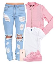 """aesthetic of pink and ripped jeans"" by daisym0nste ❤ liked on Polyvore featuring Members Only and adidas Originals"
