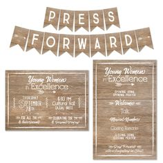 Young Women in Excellence LDS Young Women Invitation Program Banner Set Press Forward with a Steadfastness in Christ Personal Progress
