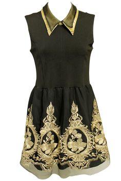 Splicing Embroidery Black Dress #Romwe