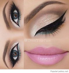 Silver and green eye makeup with pink lips