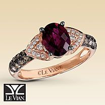 Le Vian® 14K Strawberry Gold® Garnet & Diamond Ring --  I am loving Le Vian's designs right now!!