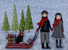 A Winter Stroll Original Cat Folk Art Painting by KilkennycatArt (Ryan Conners)