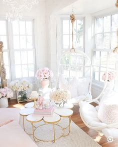 Sunroom with rattan swings, peonies, floral coffee table, throw pillows, faux flowers and roses. Elegant Home Decor, Elegant Homes, Pastel Home Decor, White Home Decor, Room Ideas Bedroom, Bedroom Decor, Bedroom Sets, Home Living Room, Living Room Decor