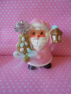 Holt Howard Santa face Decoration  japan Vintage kitsch Pink