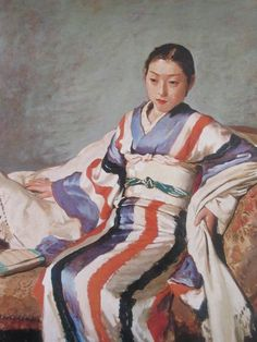 R.KOISO 小磯良平 着物婦人像 画集より 状態良好 新品額付nz_画像1