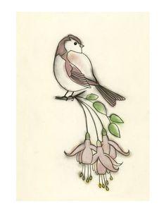 Bird art print  Spring Blossoms  4 X 6 PRINT by matouenpeluche, $6.50
