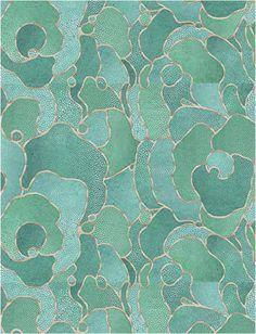 Wild and Weird and Wonderful. Shagreen wallpaper green