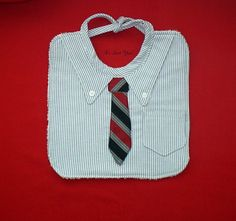 Business Man Baby Bib - with Necktie/Tie - Baby Shower Gift Idea. Baby Bibs, Sew Baby, Sweater Shirt, Dress Shirt, Adult Bibs, Tie Crafts, Make Your Own Clothes, Best Baby Shower Gifts, Baby Sprinkle