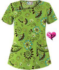 UA Super Floralistic Lime Fresh Asymmetrical Neck Print Scrub Top Style #  UA658SUL