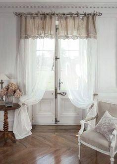 Úžitkový textil - Lněný závěs , záclonka ve francouzském stylu. Decor, Window Decor, Curtains, Curtain Decor, Home Curtains, Romantic Curtains, Curtains Window Treatments, Home Decor, Window Treatments Bedroom