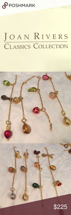 Choice of JOAN RIVERS ENAMEL CHARMS w// EXTENDER CHAIN SPRING RING EGG /& FIGURES