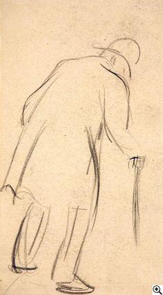Heinrich Zille Mann mit Stock Kohle über Bleistiftzeichnung auf Papier. 16,2 x 9,5cm. Rotstempel verso: Heinrich Zille. Rahmen. Schätzpreis: € 630 Ergebnis: € 625