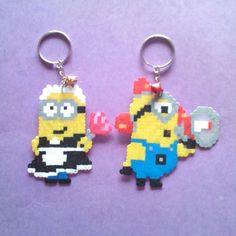 Minions keyrings hama beads by mel_pixelart